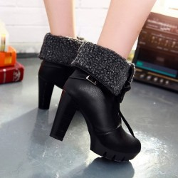 Black Platforms Lace Up Woolen Flap Over High Heels Combat Boots Shoes