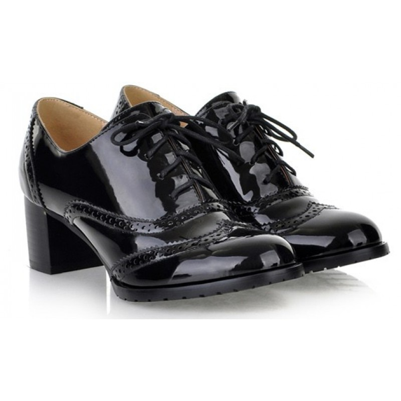 Black Patent Glossy Lace Up Vintage High Heels Oxfords Dress Shoes