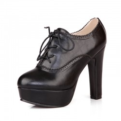 Black Platforms Lace Up Vintage High Heels Oxfords Dress Shoes