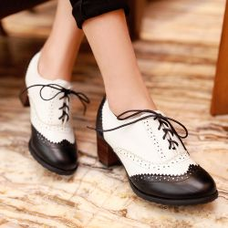 Black White Lace Up Vintage High Heels Oxfords Dress Shoes