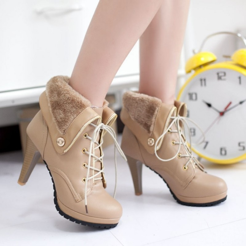 Khaki Platforms Lace Up Woolen Flap Over High Heels Combat Boots Shoes