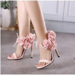 Pink Black Roses Flowers Floral High Stiletto Heels Sandals Evening Gown Bridal Shoes