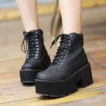 Black Thick Sole Lace Up Ankle Punk Rock Boots