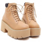 Camel Yellow Brown Thick Sole Lace Up Ankle Punk Rock Boots