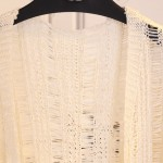 Cream Crochet Lace Mid Flounce Sleeves Long Cardigan Sweater Outer Jacket