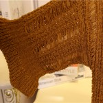 Brown Yellow Crochet Lace Mid Flounce Sleeves Long Cardigan Outer Jacket