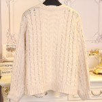 Cream Twisted Chunky Knitted Long Sleeves Cardigan Jacket