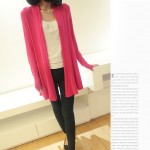 Pink Fushia Long Sleeves Knit Thin Cardigan Outer Jacket