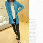 Blue Sky Long Sleeves Knit Thin Cardigan Outer Jacket