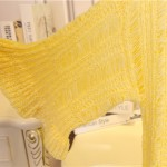 Yellow Crochet Lace Mid Flounce Sleeves Long Cardigan Sweater Outer Jacket
