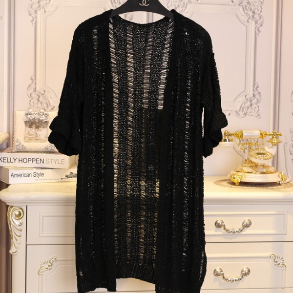 Black Crochet Lace Mid Flounce Sleeves Long Cardigan Outer Jacket