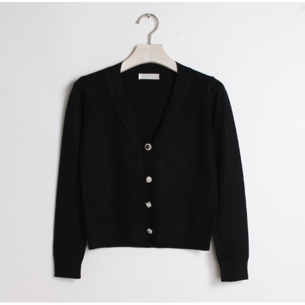 Black Cropped Mid Long Sleeves Jewellery Fancy Buttons Cardigan Outer Jacket