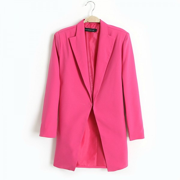 Black Pink Orange Long Sleeves Womens Boyfriend Blazer Suit Jacket Coat