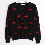 Black Red Embroidery Cherry Long Sleeves Cardigan Outer Jacket