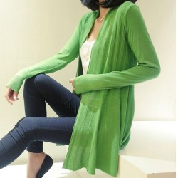 Green Lime Long Sleeves Knit Thin Cardigan Outer Jacket