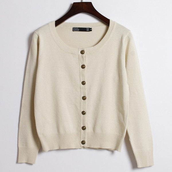Khaki Beige Cropped Mid Long Sleeves Bronze Vintage Buttons Cardigan Outer Jacket