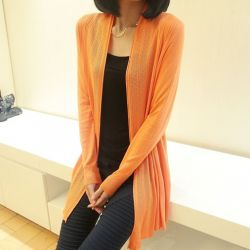 Orange Long Sleeves Knit Thin Cardigan Outer Jacket