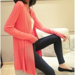 Pink Long Sleeves Knit Thin Cardigan Outer Jacket
