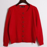 Red Cropped Mid Long Sleeves Bronze Vintage Buttons Cardigan Outer Jacket