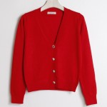 Red Cropped Mid Long Sleeves Jewellery Fancy Buttons Cardigan Outer Jacket