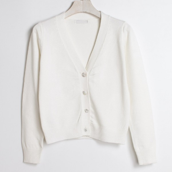 White Cropped Mid Long Sleeves Jewellery Fancy Buttons Cardigan Outer Jacket