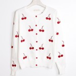 White Red Embroidery Cherry Long Sleeves Cardigan Outer Jacket