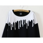 Black White Bloody Paint Drops Long Sleeve Sweatshirts Tops