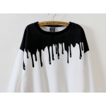White Black Bloody Paint Drops Long Sleeve Sweatshirts Tops