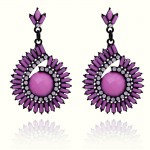Purple Pink Green Gemstones Fancy Bohemian Ethnic Earrings Ear Drops