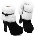 Black White Suede Ankle Fur Bow Platforms High Heels Boots
