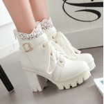 White Crochet Ankle Lace Up Platforms High Heels Boots Bootie
