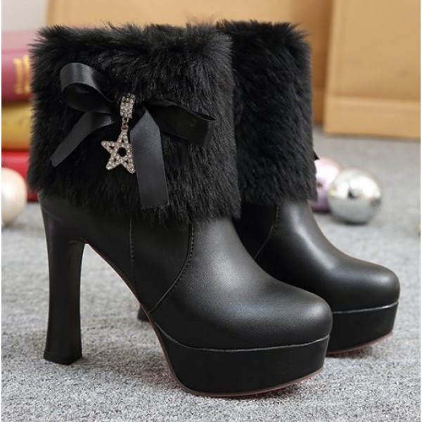 Black Ankle Fur Gold Star Platforms High Heels Boots