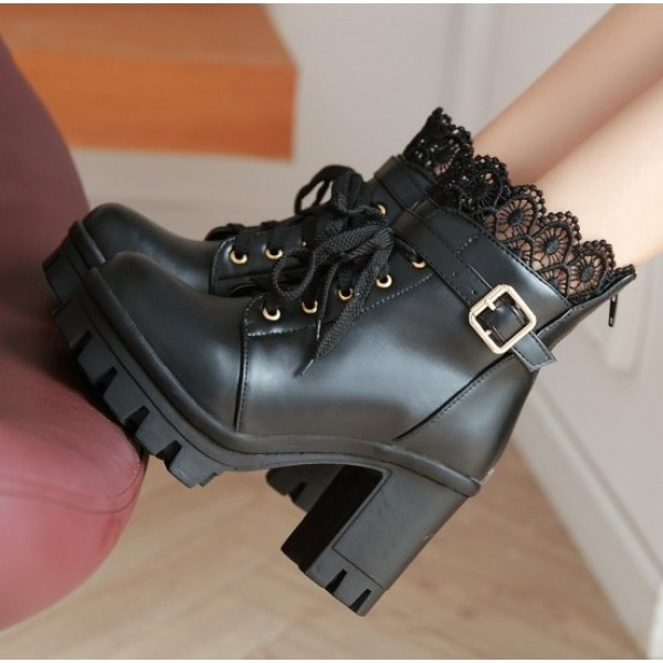 Black Crochet Ankle Lace Up Platforms High Heels Boots Bootie