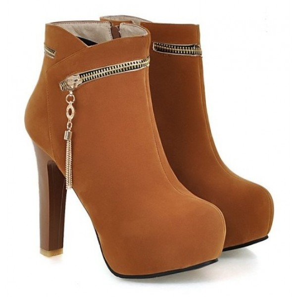 Brown Suede Gold Zipper Ankle Platforms High Heels Boots