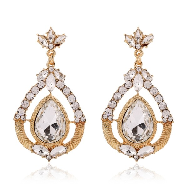 Gold Silver Bronze Crystal Diamante Fancy Glamorous Wings Earrings