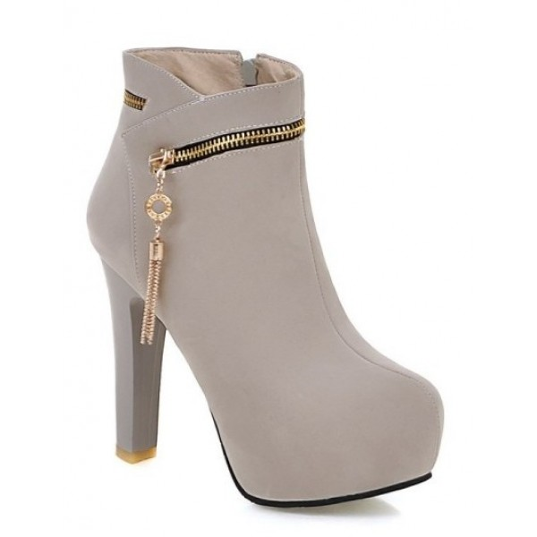 Grey Suede Gold Zipper Ankle Platforms High Heels Boots