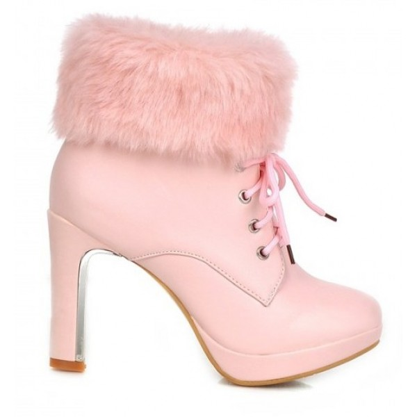 Pink Ankle Fur Lace Up Platforms High Heels Boots Bootie