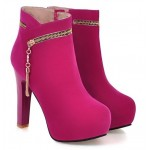 Pink Fushia Suede Gold Zipper Ankle Platforms High Heels Boots