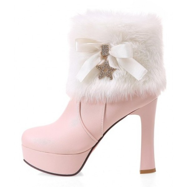 Pink White Ankle Fur Gold Star Platforms High Heels Boots