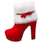 Red White Suede Ankle Fur Bow Platforms High Heels Boots