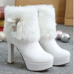 White Ankle Fur Gold Star Platforms High Heels Boots