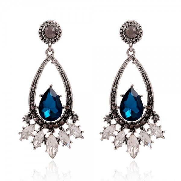 Blue Diamante Crystals Gemstones Glamorous Earrings Ear Drops