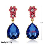 Blue Gemstone Glamorous Pink Flowers Earrings Ear Drops