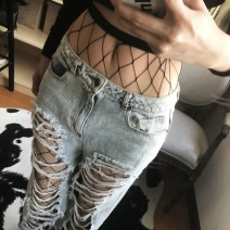 Black Big Fish Net Fishnet Lolita Punk Rock Gothic Long Socks Tights Stockings