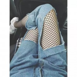 Black Medium Fish Net Fishnet Lolita Punk Rock Gothic Long Socks Tights Stockings