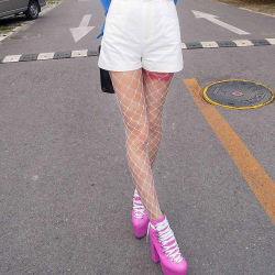 White Big Fish Net Fishnet Lolita Punk Rock Gothic Long Socks Tights Stockings
