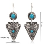 Silver Vintage Blue Bohemian Earrings Ear Drops