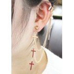 Gold Tri Cross Fancy Chain Earrings Ear Drops