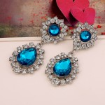 Blue Green Gemstones Crystals Glamorous Earrings Ear Drops