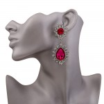 Red Ruby Gemstones Crystals Glamorous Earrings Ear Drops